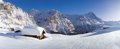 Panorama with Eiger in winter stock images