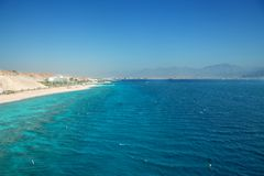 Panorama of Eilat beach. Israel, Read sea coast Stock Photos