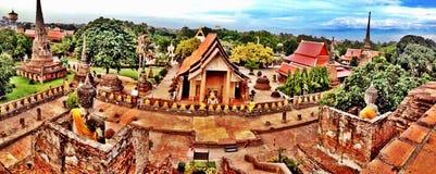 Panorama in einem Tempel von Ayuthaya Thailand stockfotos