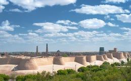 Panorama einer alten Stadt von Khiva, Uzbekistan stockbilder