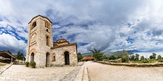 Panorama eines Bildes der Kirche von St. Panteleimon, Plaoshnik, Ohrid Lizenzfreies Stockfoto