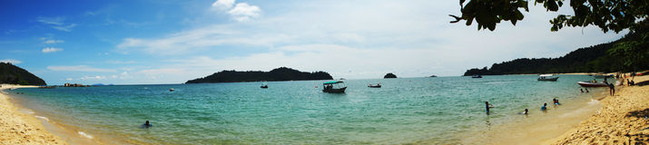 Panorama eines goldenen Strandes Lizenzfreie Stockbilder