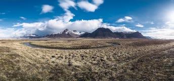 Panorama eines schönen Morgens in Island Lizenzfreies Stockbild