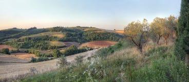 Panorama eines toskanischen Sonnenuntergangs landscape2 lizenzfreie stockfotos