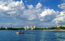 Panorama of Ekaterinburg with water Royalty Free Stock Photography