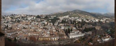 Panorama of El Albayzin district in Granada, Andalusia, Spain Stock Photo