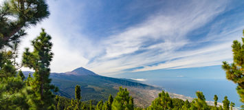 Panorama of El Teide volcano and Orotava valley Royalty Free Stock Image