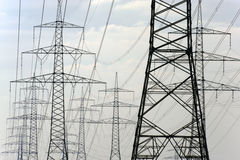 Panorama of electric pylons Stock Photography
