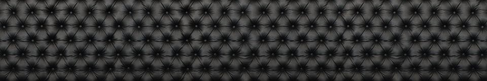 Panorama of elegant black leather texture with buttons for patte. Rn and background Royalty Free Stock Photos