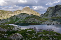 Panorama of Elenski lakes, Rila Mountain, Bulgaria. Daytime panorama of Elenski lakes, Rila Mountain, Bulgaria Royalty Free Stock Image