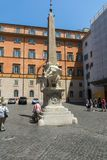 Panorama with Elephant Obelisk and Pantheon in city of Rome, Italy. ROME, ITALY - JUNE 23, 2017: Panorama with Elephant Obelisk and Pantheon in city of Rome Royalty Free Stock Photos