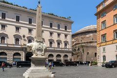 Panorama with Elephant Obelisk and Pantheon in city of Rome, Italy. ROME, ITALY - JUNE 23, 2017: Panorama with Elephant Obelisk and Pantheon in city of Rome Stock Images
