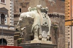 Panorama with Elephant Obelisk and Pantheon in city of Rome, Italy. ROME, ITALY - JUNE 23, 2017: Panorama with Elephant Obelisk and Pantheon in city of Rome Stock Photos