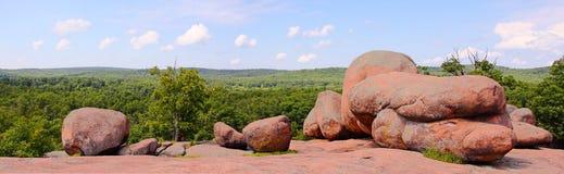 Panorama of Elephant Rocks at the top. Elephant Rocks State Park in Missouri Ozark Mountains Stock Photos