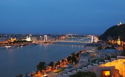 Panorama with Elisabeth Bridge and Budapest city by night, Hungary Stock Photo