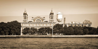 Panorama of Ellis island in New York, vintage sepia process Royalty Free Stock Photos