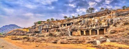 Panorama of Ellora caves 20-24. UNESCO world heritage site in Maharashtra, India. Panorama of Ellora caves 20-24. A UNESCO world heritage site in Maharashtra royalty free stock photo