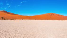 Panorama em dunas de areia coloridas e na paisagem cênico em Sossusvlei no deserto de Namib, parque nacional de Namib Naukluft, t vídeos de arquivo