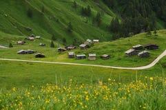Panorama em Passo Fedaia, Val di Fassa, dolomites Foto de Stock