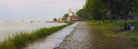 Panorama of the embankment city of Taganrog on a rainy summer evening Royalty Free Stock Photos