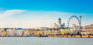 Panorama Of Embankment In Helsinki At Summer Sunset Evening, Sun stock photography