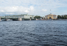 Panorama of the embankment of the river Neva. View of the Admiralty and the Hermitage and Palace bridge in St. Petersburg, Russia. Stock Images