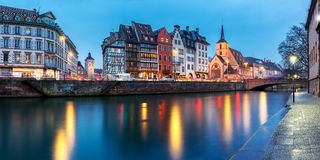 Panorama of embankment in Strasbourg, Alsace Royalty Free Stock Photography