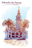 Panorama of the Embarcadero.Watercolor painted Sketch. EPS10 vector illustration. Panorama of the Embarcadero Ferry building in San Francisco and palm tree vector illustration