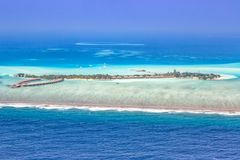 Panorama Emboodhu Finol de copyspace de mer de paradis de vacances des Maldives Photo stock