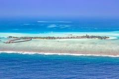 Panorama Emboodhu Finol del copyspace del mar del paraíso de las vacaciones de Maldivas Foto de archivo
