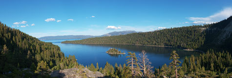Panorama Emerald Bay Lake Tahoe California. Panoramic Photo of Fannette Island, Emerald Bay at Lake Tahoe, California, USA Stock Images