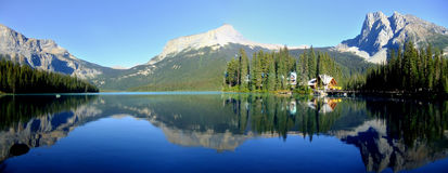 Panorama of Emerald Lake, Yoho National Park, British Columbia,. Panoramic view of mountains reflected in Emerald Lake, Yoho National Park, British Columbia Royalty Free Stock Photography