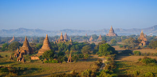 Panorama ะemples of bagan at sunrise, Myanmar Stock Image