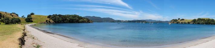 Panorama of empty beach on Urupukapuka Island in Bay of Islands, Royalty Free Stock Image