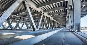 Empty concrete bridge construction. Panorama of empty concrete bridge industrial scene background royalty free stock photography