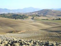 Panorama en el d'Orcia de Val Foto de archivo libre de regalías