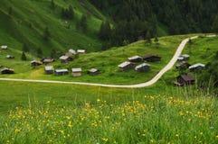 Panorama en Passo Fedaia, Val di Fassa, dolomías Imágenes de archivo libres de regalías