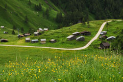 Panorama en Passo Fedaia, Val di Fassa, dolomías Foto de archivo