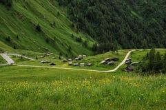 Panorama en Passo Fedaia, Val di Fassa, dolomías Imagen de archivo