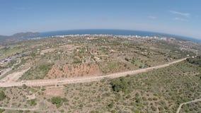 Panorama en un Balearic Island - vuelo aéreo, Mallorca del día de fiesta almacen de video