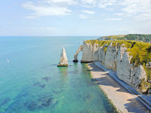Panorama of english channel coast with cliffs. On Etretat cote d'albatre, France Stock Image