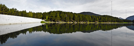 Panorama of Engolasters lake in  Andorra Royalty Free Stock Photo