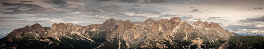 Panorama of the entire catinaccio rosengarten massif in dolomites alto adige south tyrol italy royalty free stock image