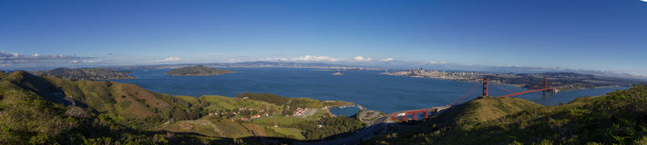 Panorama of entire San Francisco Bay from atop the Golden Gate National Recreational Area with a view of the Golden Gate Bridge. A large perspective panorama of Royalty Free Stock Images