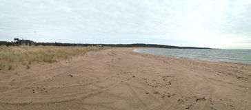 Panorama entlang Ristna-Strand mit Dünen auf Hiiumaa Lizenzfreie Stockbilder