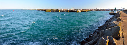 Panorama of entrance in Joinville port in Yeu Island Royalty Free Stock Photo