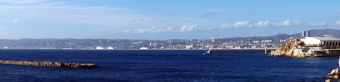 Panorama of the Entrance of the Marseille Harbor Royalty Free Stock Photography