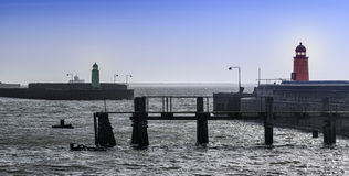 Panorama of entrance to Esbjerg oil harbor, Denmark Stock Photo