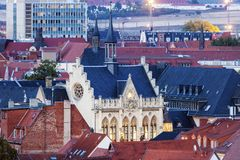 Panorama of Erfurt. With city hall. Erfurt, Thuringia, Germany royalty free stock photo