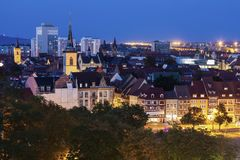 Panorama of Erfurt. At evening. Erfurt, Thuringia, Germany stock photography